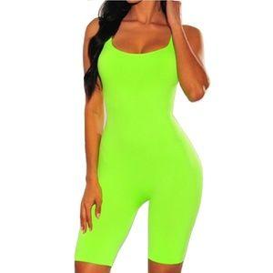 Plus size lime cotton capri jumpsuit